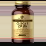 An amber glass bottle bottle of Solgar's Triple Strength Omega-3 950mg Softgels on a white backdrop.