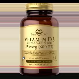 Vitamin D3 (Cholecalciferol) 15 mcg (600 IU) Vegetable Capsules