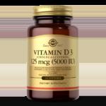 An amber glass bottle of Solgar's Vitamin D3 Cholecalciferol 5,000 IU softgels on a white backdrop.
