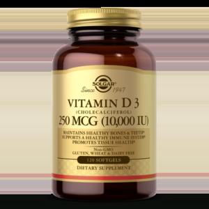 Vitamin D3 (Cholecalciferol) 250 MCG (10,000 IU) Softgels